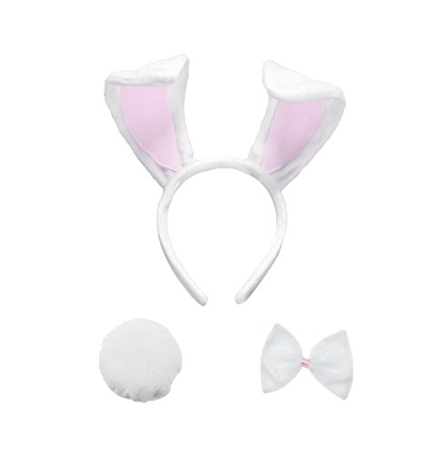 3PCS Kids Adult Bunny Piggy Ears Headband Tail Set Birthday Party Animal Kit (White Rabbit)