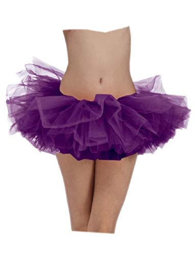 Ick Costume Sexy Neon Purple Retro Ballet Team School Spirit Colored Skirt Tutu ()