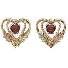 Heart Shaped Black Hills Gold Garnet Earrings made of 10k Gold with 5 X 5 MM Heart Shaped Genuine Garnet - Hill Garnet Jewelry
