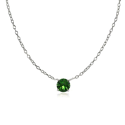 Sterling Silver Small Dainty Round Simulated Emerald Choker Necklace