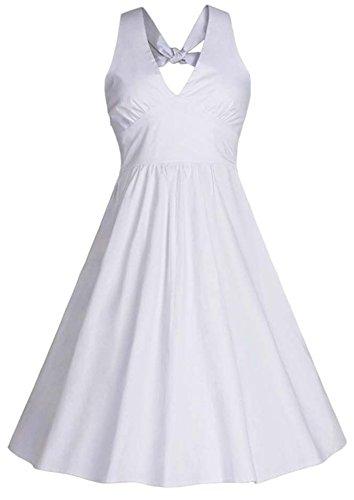 Vídeo de la mujer Audrey Hepburn 50s Rockabilly vestido de satén de novia de dama de Halter blanco