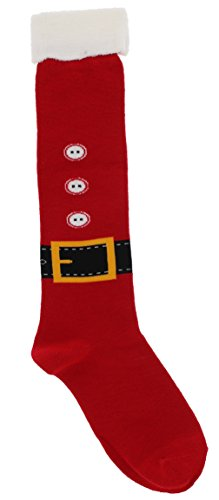 [Davco Women's Christmas Santa Suit Knee High Socks, One Size, Red] (Santa Suites)