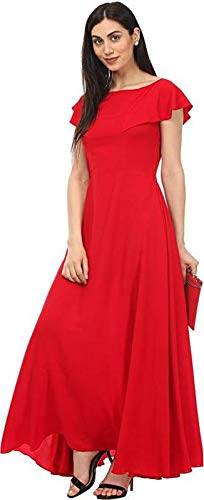 4f63087e2c7 LEE FASHION RED Women s CREPE WESTERN GOWN