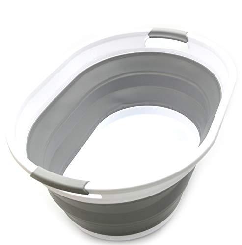 SAMMART Collapsible Plastic Laundry Basket - Oval Tub/Basket - Foldable Storage Container/Organizer - Portable Washing Tub - Space Saving Laundry Hamper (Grey)