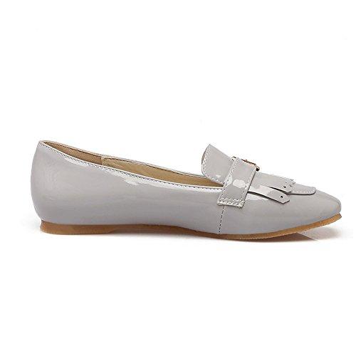 Boca Gran de Charol Barcos de Mujer para Calzado Cabeza Fondo Cuadrada Piel para Simple Gray Tamaño Plano Baja Zapatos anAwfX