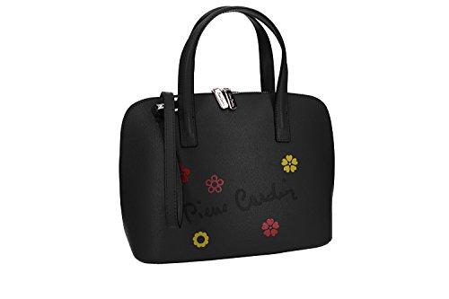 Bolsa mujer de mano bandolera PIERRE CARDIN negro cuero Made in Italy VN1678