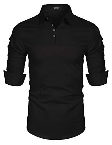 COOFANDY Men's Linen Cotton Blend Henley Shirt Roll-up Long Sleeve Summer Shirt Band Collar Plain Yoga Tops Black