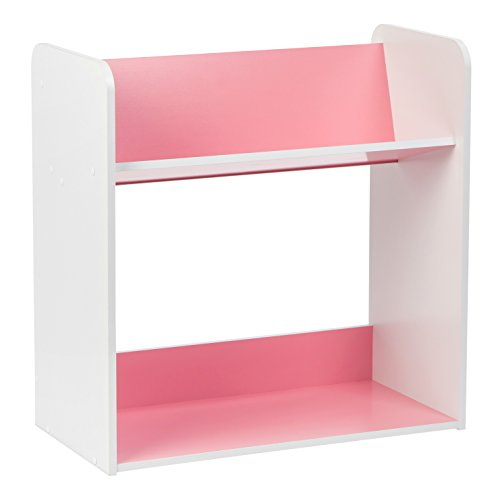 IRIS 2-Tier Tilted Shelf Book Rack, Pink and White by IRIS USA, Inc.