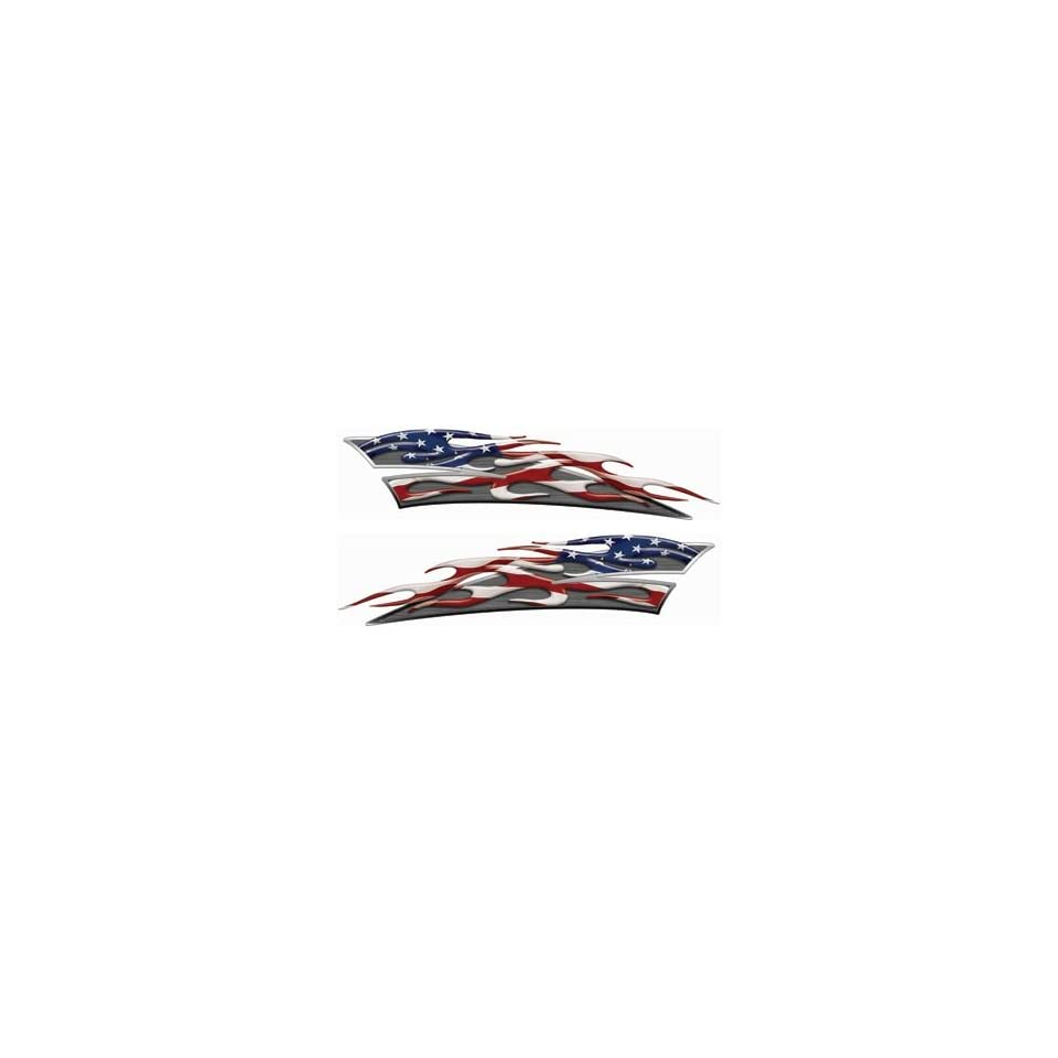 Reflective American Flag Motorcycle Gas Tank Flame Decals
