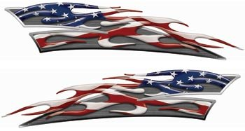 Weston Signs Reflective American Flag Motorcycle Gas Tank Flame Decals ()