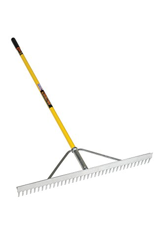 Structron 12102 (LR36) 36'' Head Landscape Rake, 66'' Yellow Fiberglass Handle, Cushion Grip by Structron (Image #1)
