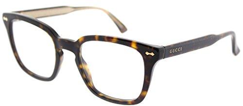 Gucci GG 0184O 002 Havana Plastic Square Eyeglasses 50mm