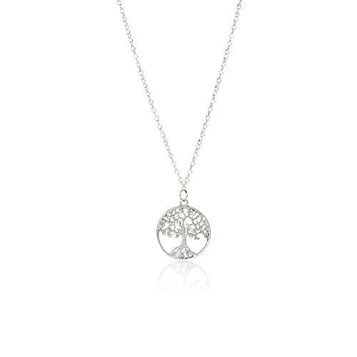 Tree Necklace (Tree of Life Pendant Necklace Sterling Silver Disk Chain Pendant Necklace)
