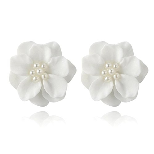 Women Earrings Clearance! 2018 Flower Earrings Crystal Clip On Stud Earrings Fashion Jewelry Eardrop for Women Girls (White)
