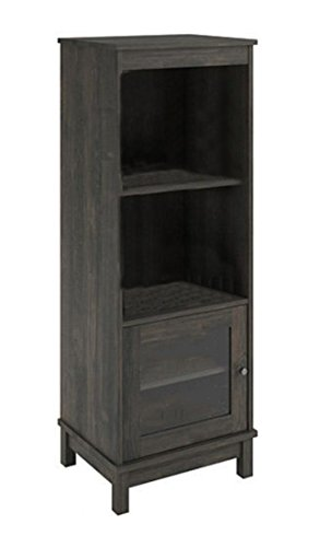 Media Storage Pier (Zeckos Wood Bookcases Audio Pier Side Tower Cabinet Entertainment Center W/3 Shelves Gray Oak Finish 19.7 X 54 X 15.7 Inches Gray)