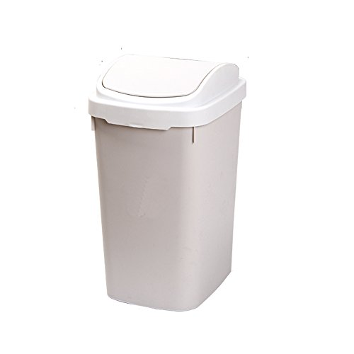 Happiness Decoration Plastic Trash Can with Lid 13 L / 3.4 Gal Bathroom Trash Bins Swing Lid Wastebasket (White)