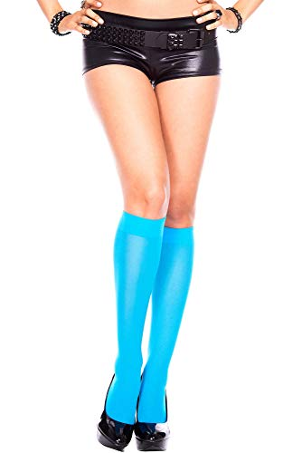 Std Size Women (8 1/2-11 Sock Size) Turquoise Versatile Nylon Knee High Stockings -