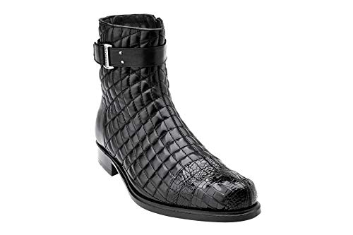 Belvedere Mens Libero Genuine Alligator and Soft Quilted Leather Boots, Black, 8 Medium (819)