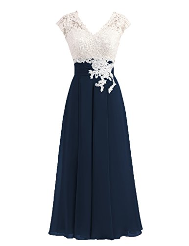 Women's Ivory Lace Top Chiffon Button V-Neck Bridesmaid Dresses with Cap Sleeves Mother of The Bride Dresses (US12, Navy)