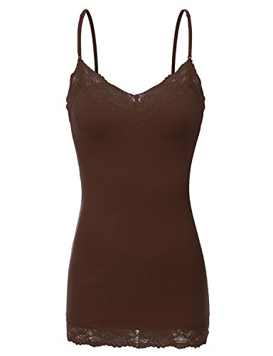 Cami Layering Tank - Bozzolo RT1004 Ladies Adjustable Spaghetti Strap Lace Trim Long Tunic Cami Tank Top Brown M