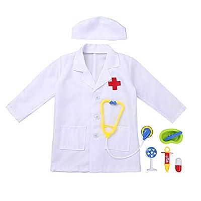 Alvivi Kids Boys Girls Lab Coat Doctor/Nurse Uniform Halloween Outfit Fancy Dress up Costume with Medical Kit: Clothing