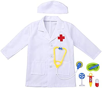 Kids Lab Coat Boys Girsl Doctor Fancy Dress Up Costume Nurse Medical Scientist