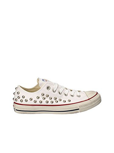 Converse Ctas Distressed Ox Chaussures Femme Blanc Blanc