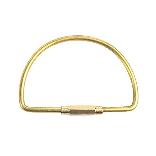 OYJJ Brass Keychains Sports Keyrings D Shaped Drop Shaped Orbits Shaped Durable EDC Brass Sports Key Ring