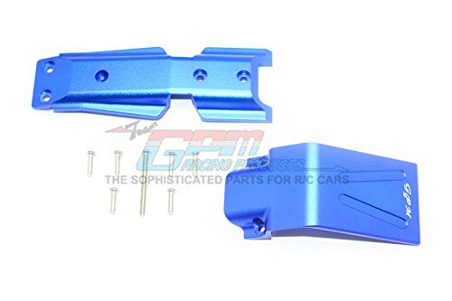 GPM Traxxas E-Revo 2.0 VXL Brushless (86086-4) Upgrade Parts Aluminum Front Skid Plate - 2Pc Set Blue ()