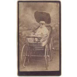 Black Market Antiques Fat Baby in Wood Wheeled Wicker Carriage Buggy CDV Photo - Wicker Buggy
