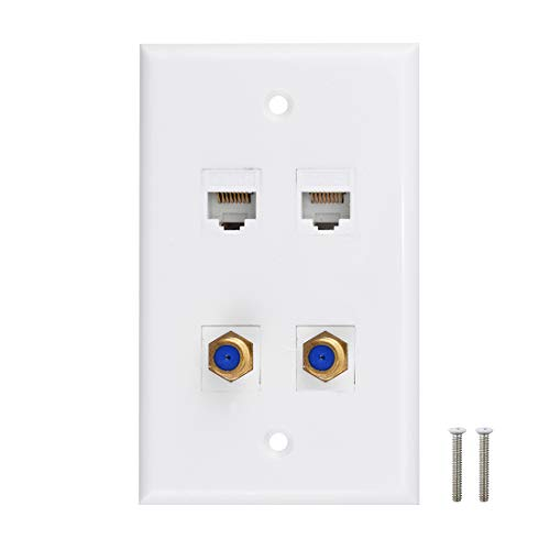 Ethernet Coax Wall Plate - Cat6 F Type Wall Plate, 2 Port Cat6 Keystone and 2 Port F Type Connector Coax Keystone - White