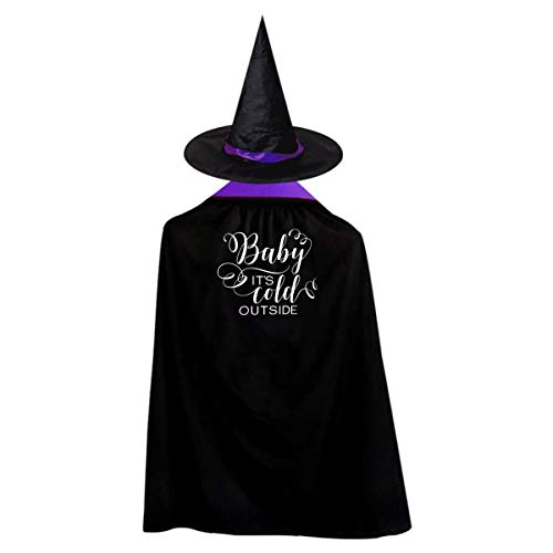 Baby It's Cold Outside, Funny On The Eve of Halloween Purple Stay Inside,Christmas Day,Stay Home Wizard Hat Cape Cloak S ()