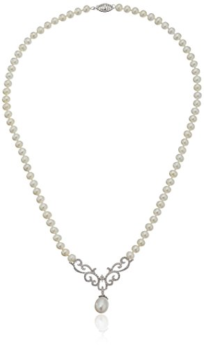 10k White Gold Scroll Design Diamond and Freshwater Cultured Pearl Drop Necklace, - Necklace Freshwater Drop Cultured Pearl
