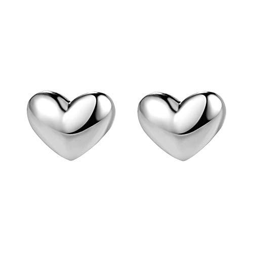 Silver Heart Earrings Sterling Shape (AVECON 925 Sterling Silver Heart Stud Earrings Tiny Polish Hypoallergenic Earrings for Women (Heart))