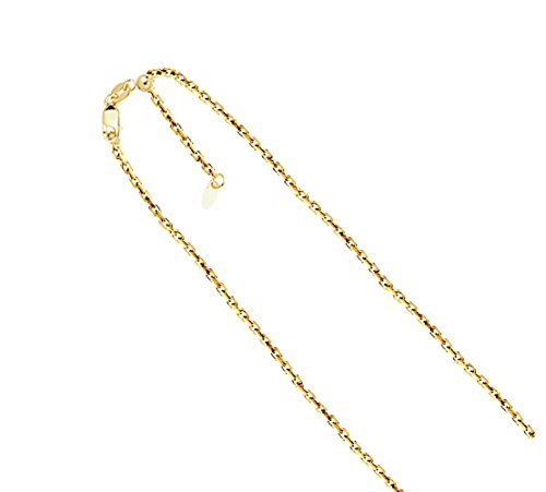 14K Solid Gold 1.0mm Adjustable Diamond Cut Cable Chain Necklace- 22
