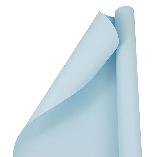 JAM PAPER Gift Wrap - Matte Wrapping Paper - 25 Sq Ft - Matte Light Baby Blue/Pool Blue - Roll Sold Individually -