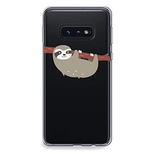 CasesByLorraine Samsung Galaxy S10e Case, Cute Sloth Clear Transparent Case Flexible TPU Soft Gel Protective Cover for Samsung S10e (A66)]()