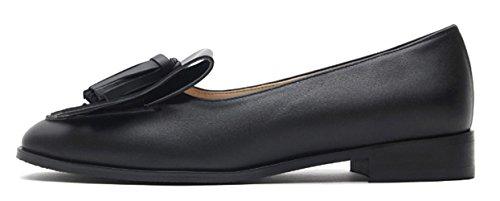 Karen White Mocasines Negros Para Mujer De Cuero Genuino Borla Detallada Zapatos Planos De Tacón Bajo Negro