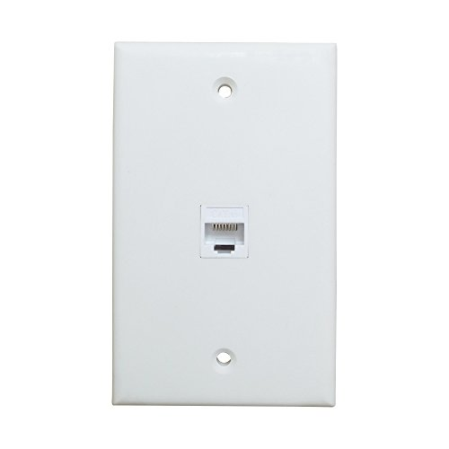 (1 Port Ethernet Wall Plate - ESYLink Cat6 Ethernet Cable Wall Plate Female to Female - White)