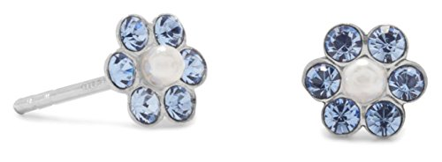 1.5mm Crystal/2mm Simulated Pearl Sterling Silver Post Stud Earrings, 6mm Light Blue - Tracking Mail Day 2 Priority