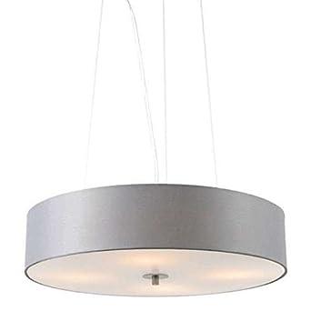 QAZQA Modern Pendant Lamp Pendant Light Drum 50 Short Grey Glass Fabric