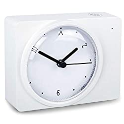 WulaWindy Desk Dial Clock Bedside Non-Ticking Small Clocks with Led Light Sensor Dimmer USB Charging Port