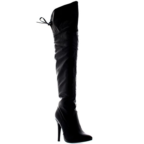 Womens Thigh Platform High Heels Stilettos Stretch Over The Knee Boots - Black - US9/EU40 - KL0041H (Lace Up Stretch Boot)