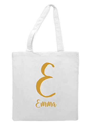 And Name Gift Initial Shopper Party Bag White Gold Wedding Personalised Tote Engagement q7CCfdw