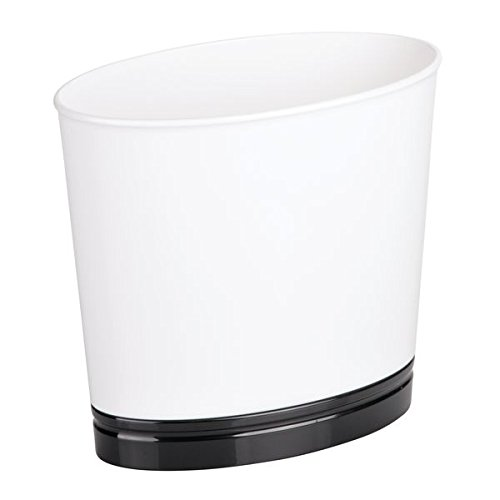 mDesign Oval Slim Decorative Plastic Small Trash Can Wastebasket, Garbage Container Bin for Bathrooms, Kitchens, Home Offices, Dorm Rooms - White/Black