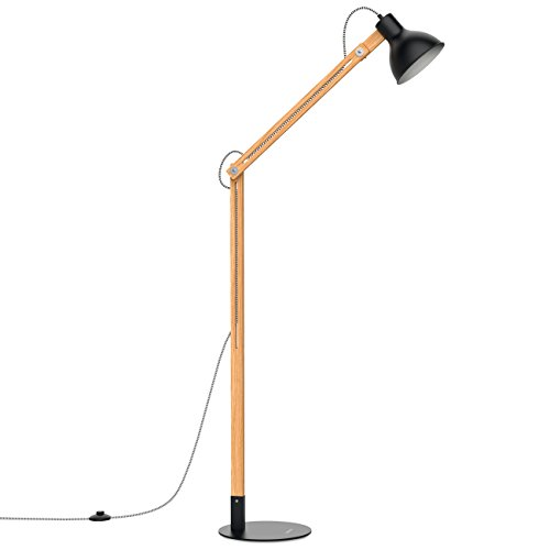 Tomons Wood Floor Lamp, Adjustable Head Reading Light, Nature Rubber Wood, 8W Warm White LED Light, 40W E26 Incandescent Lamp, 57.8