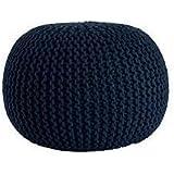 Urban Shop Round Knit Pouf, Indigo/Navy