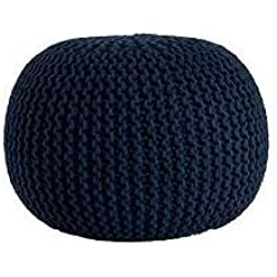 Urban Shop Round Knit Pouf, Indigo/Navy
