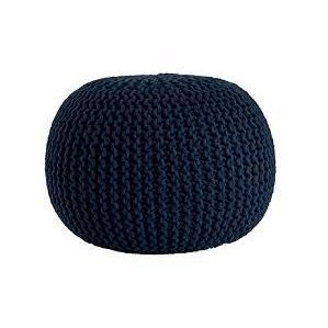 Urban Shop Round Knit Pouf, Indigo/Navy by Urban Shop