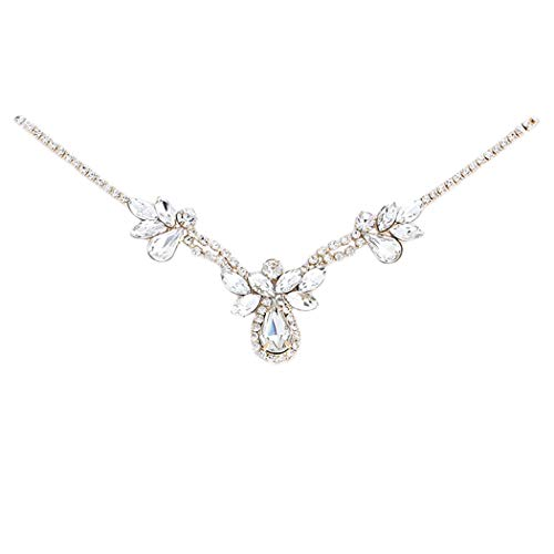 Rosemarie Collections Women's Elegant Crystal Rhinestone Adjustable Slide Backdrop Style Bridal Necklace (Gold Tone Flower) ()